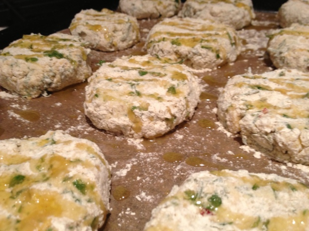 Lightly dusted with gram flour and a drizzle of olive oil