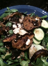 mixed salad with aubergine