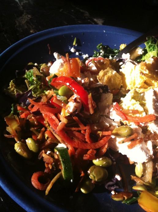 stir fry veggies and hummus